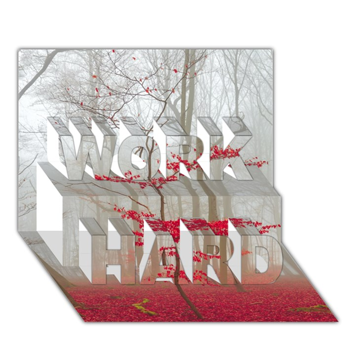 Magic forest in red and white WORK HARD 3D Greeting Card (7x5)