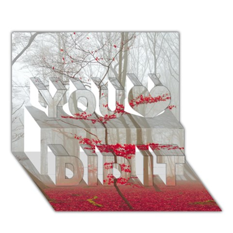 Magic forest in red and white You Did It 3D Greeting Card (7x5)