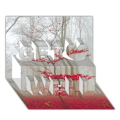 Magic Forest In Red And White Get Well 3d Greeting Card (7x5)