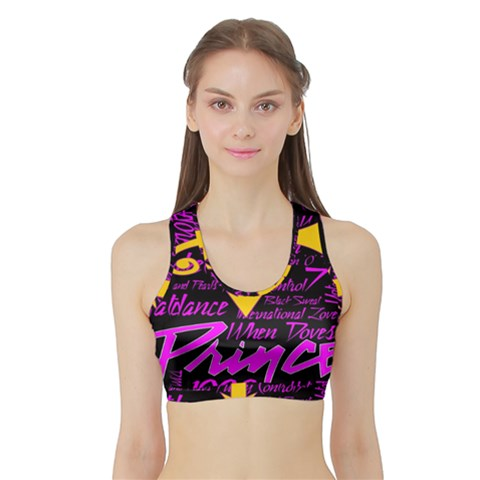 Prince Poster Sports Bra with Border