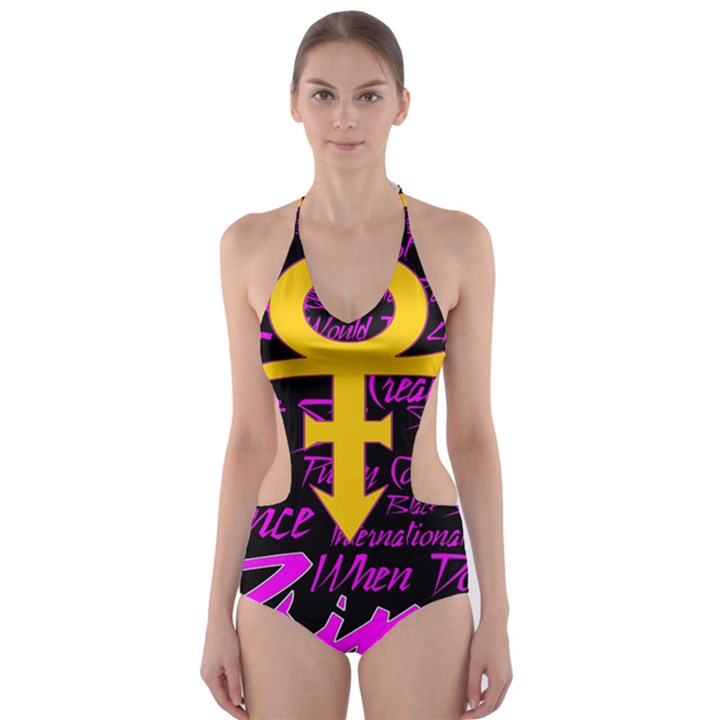 Prince Poster Cut-Out One Piece Swimsuit