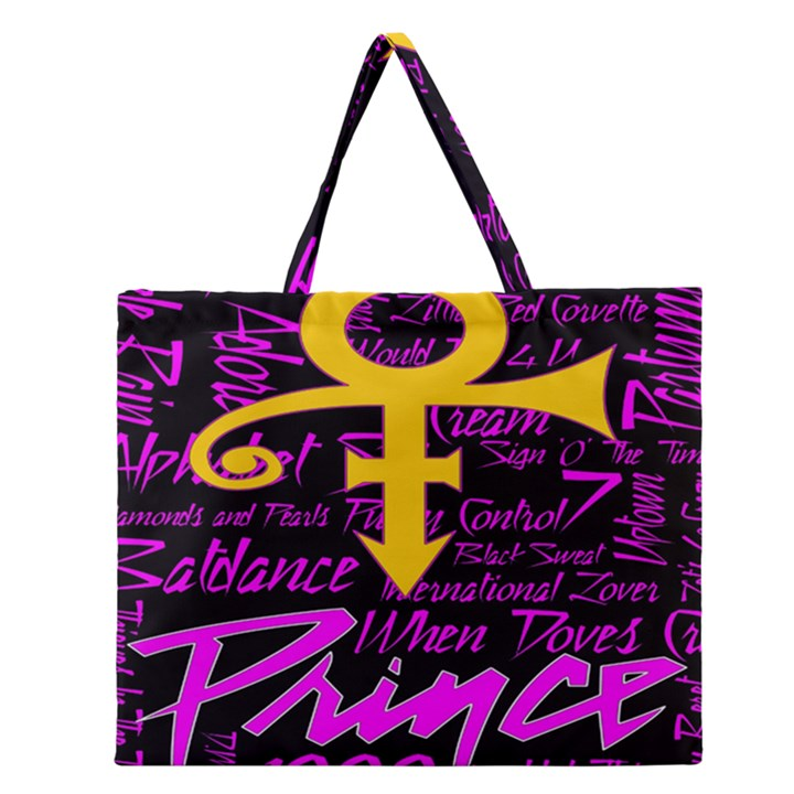 Prince Poster Zipper Large Tote Bag