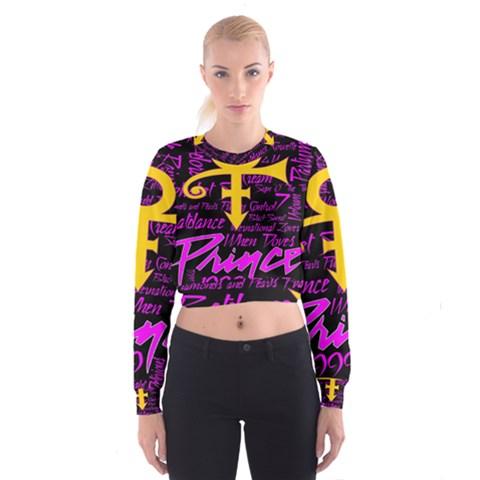 Prince Poster Women s Cropped Sweatshirt