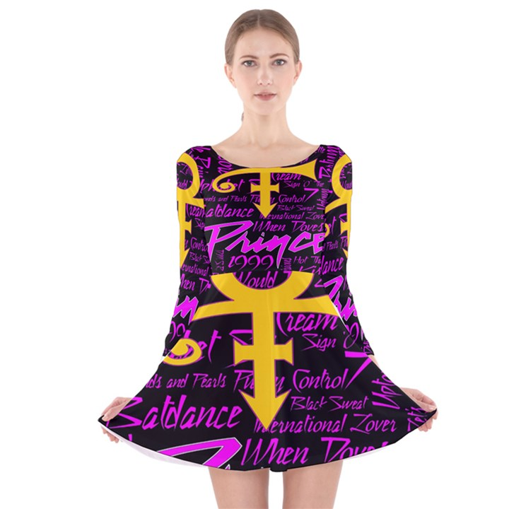 Prince Poster Long Sleeve Velvet Skater Dress