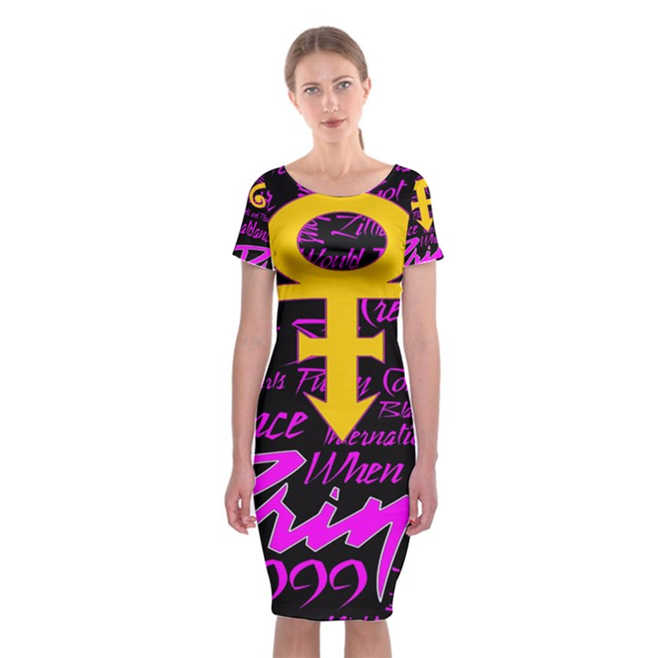 Prince Poster Classic Short Sleeve Midi Dress