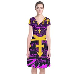 Prince Poster Short Sleeve Front Wrap Dress
