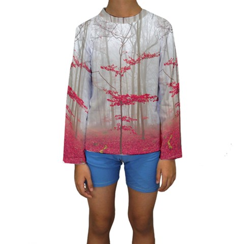 Magic forest in red and white Kids  Long Sleeve Swimwear