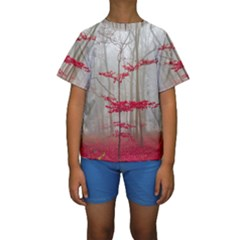 Magic Forest In Red And White Kids  Short Sleeve Swimwear