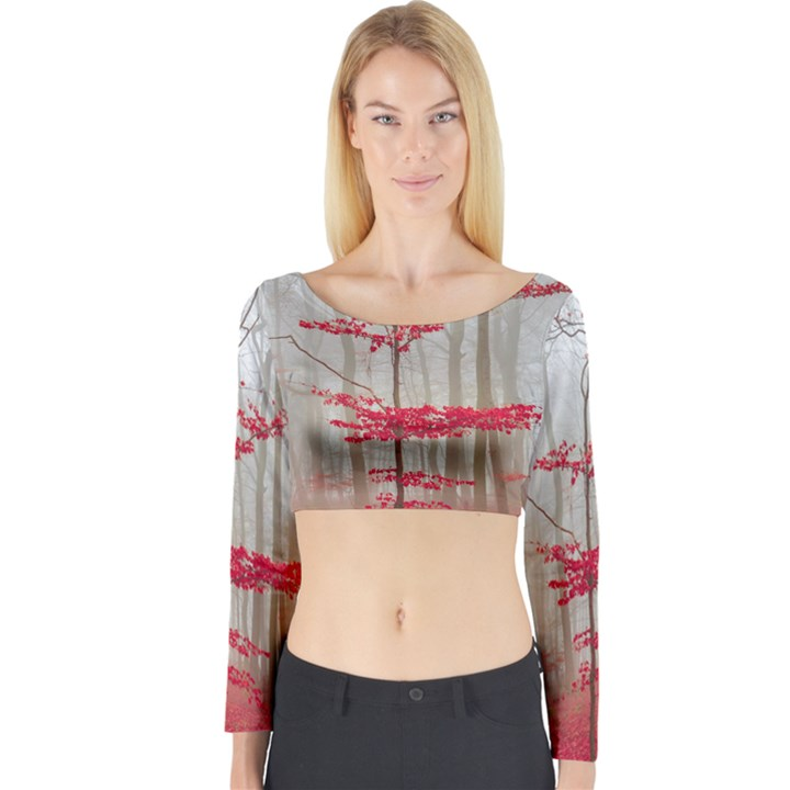 Magic forest in red and white Long Sleeve Crop Top