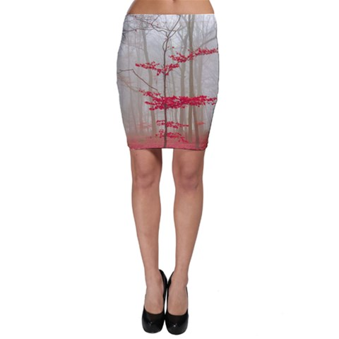 Magic forest in red and white Bodycon Skirt