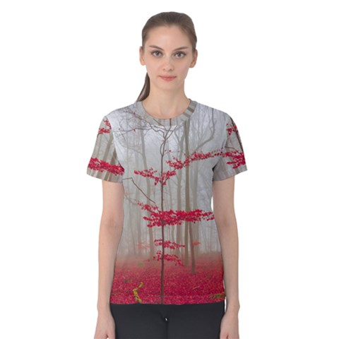 Magic forest in red and white Women s Cotton Tee