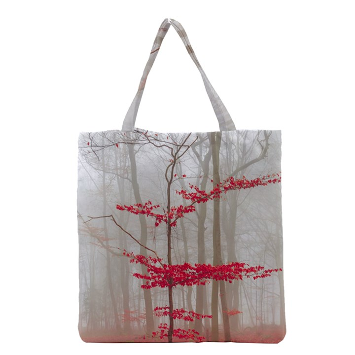 Magic forest in red and white Grocery Tote Bag
