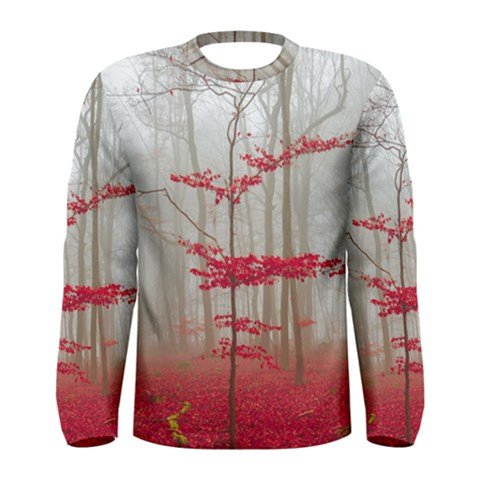Magic forest in red and white Men s Long Sleeve Tee