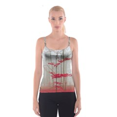 Magic forest in red and white Spaghetti Strap Top