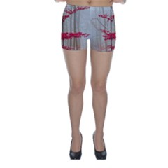 Magic forest in red and white Skinny Shorts