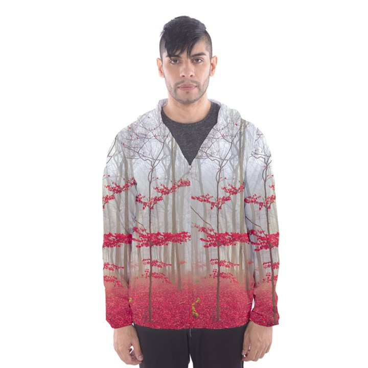 Magic forest in red and white Hooded Wind Breaker (Men)