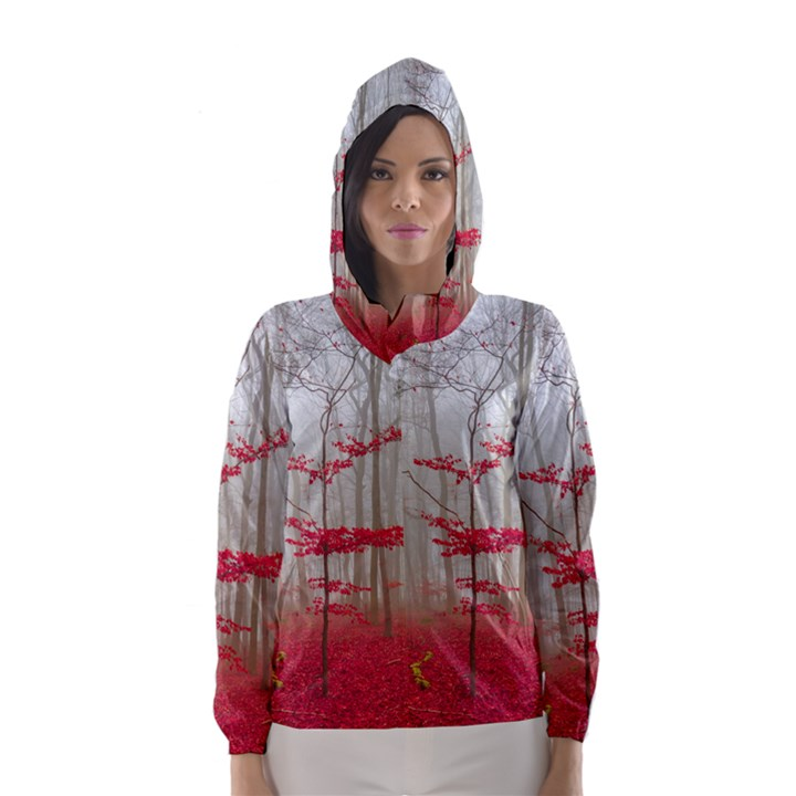 Magic forest in red and white Hooded Wind Breaker (Women)