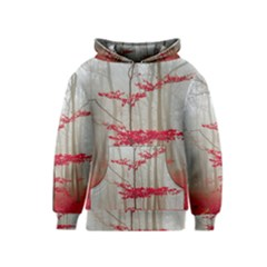 Magic Forest In Red And White Kids  Pullover Hoodie
