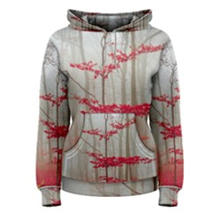 Magic forest in red and white Women s Pullover Hoodie