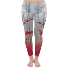 Magic forest in red and white Winter Leggings