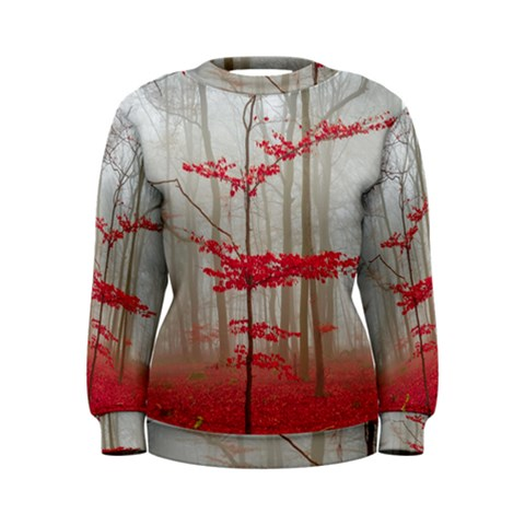 Magic forest in red and white Women s Sweatshirt