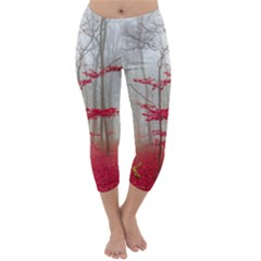Magic forest in red and white Capri Winter Leggings