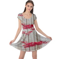Magic Forest In Red And White Cap Sleeve Dresses