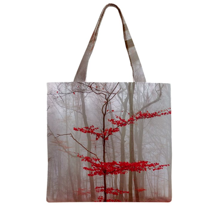 Magic forest in red and white Zipper Grocery Tote Bag