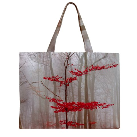 Magic forest in red and white Zipper Mini Tote Bag