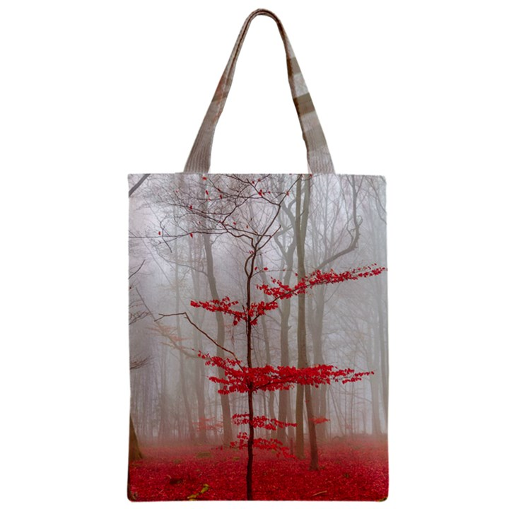 Magic forest in red and white Zipper Classic Tote Bag
