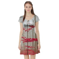 Magic forest in red and white Short Sleeve Skater Dress