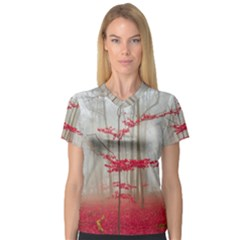 Magic Forest In Red And White Women s V Neck Sport Mesh Tee