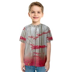 Magic Forest In Red And White Kids  Sport Mesh Tee