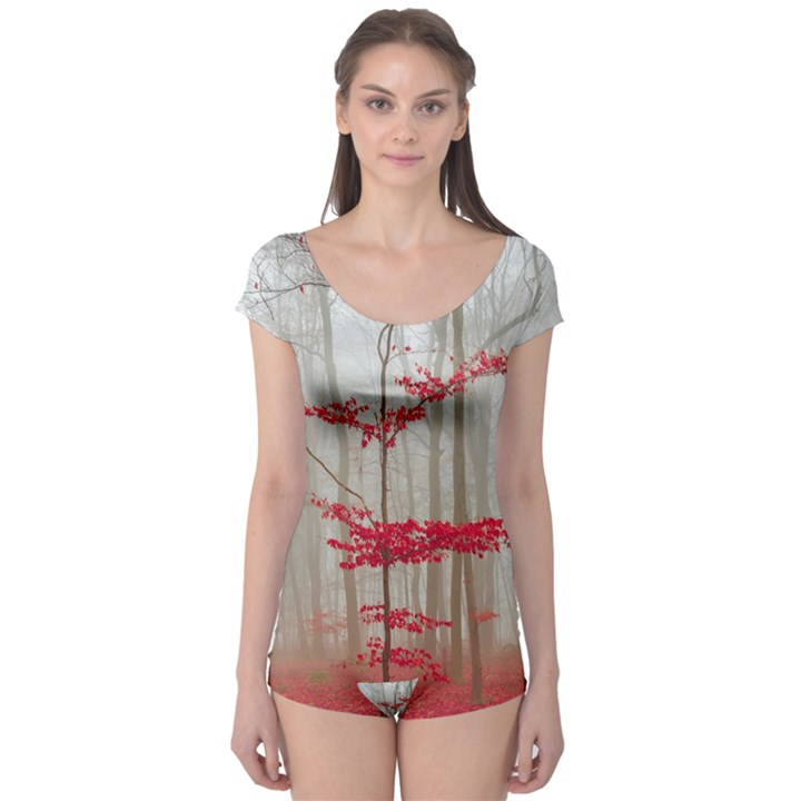 Magic forest in red and white Boyleg Leotard