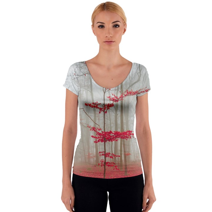 Magic forest in red and white Women s V-Neck Cap Sleeve Top