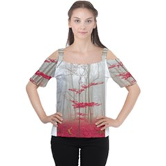 Magic Forest In Red And White Women s Cutout Shoulder Tee