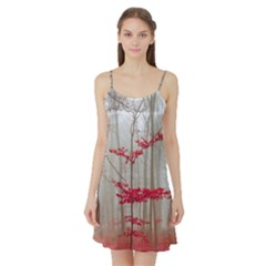 Magic forest in red and white Satin Night Slip