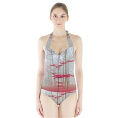 Magic forest in red and white Halter Swimsuit
