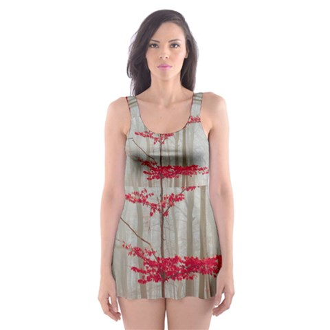 Magic forest in red and white Skater Dress Swimsuit