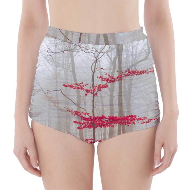 Magic forest in red and white High-Waisted Bikini Bottoms