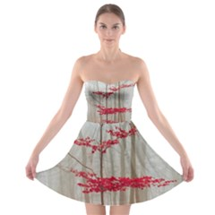 Magic Forest In Red And White Strapless Bra Top Dress