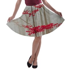 Magic Forest In Red And White A Line Skater Skirt