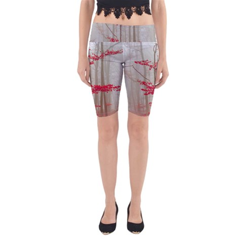Magic forest in red and white Yoga Cropped Leggings