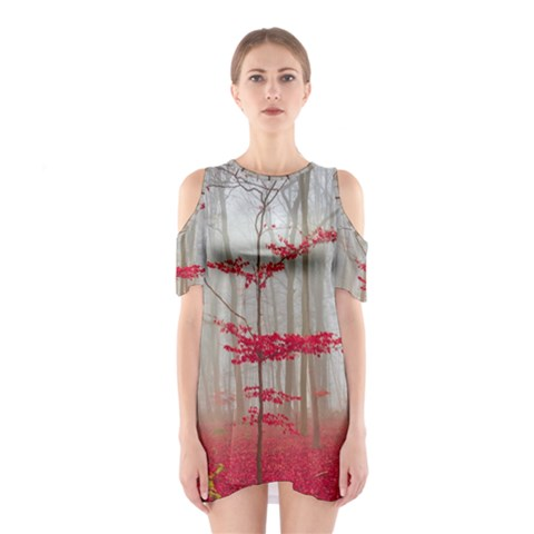 Magic forest in red and white Cutout Shoulder Dress