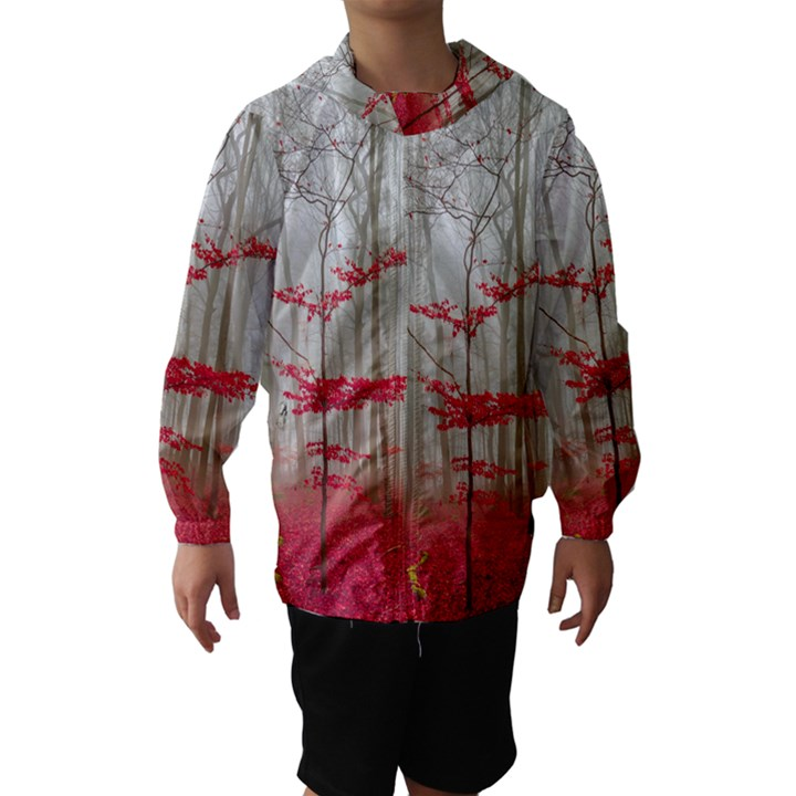 Magic forest in red and white Hooded Wind Breaker (Kids)