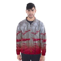 Magic Forest In Red And White Wind Breaker (men)