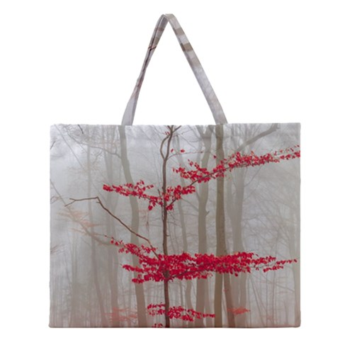 Magic forest in red and white Zipper Large Tote Bag