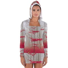 Magic Forest In Red And White Women s Long Sleeve Hooded T Shirt