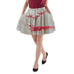 Magic Forest In Red And White A Line Pocket Skirt