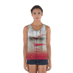 Magic forest in red and white Women s Sport Tank Top
